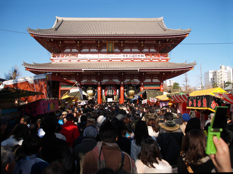 Christmas time in a temple in Asakusa stock photography