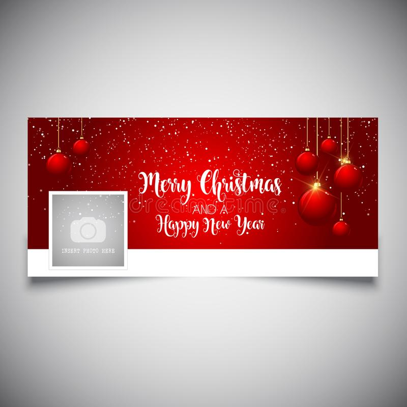 christmas and new year facebook cover stock vector