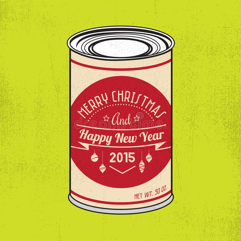 Christmas tin. With vintage hipster label and grunge texture vector illustration