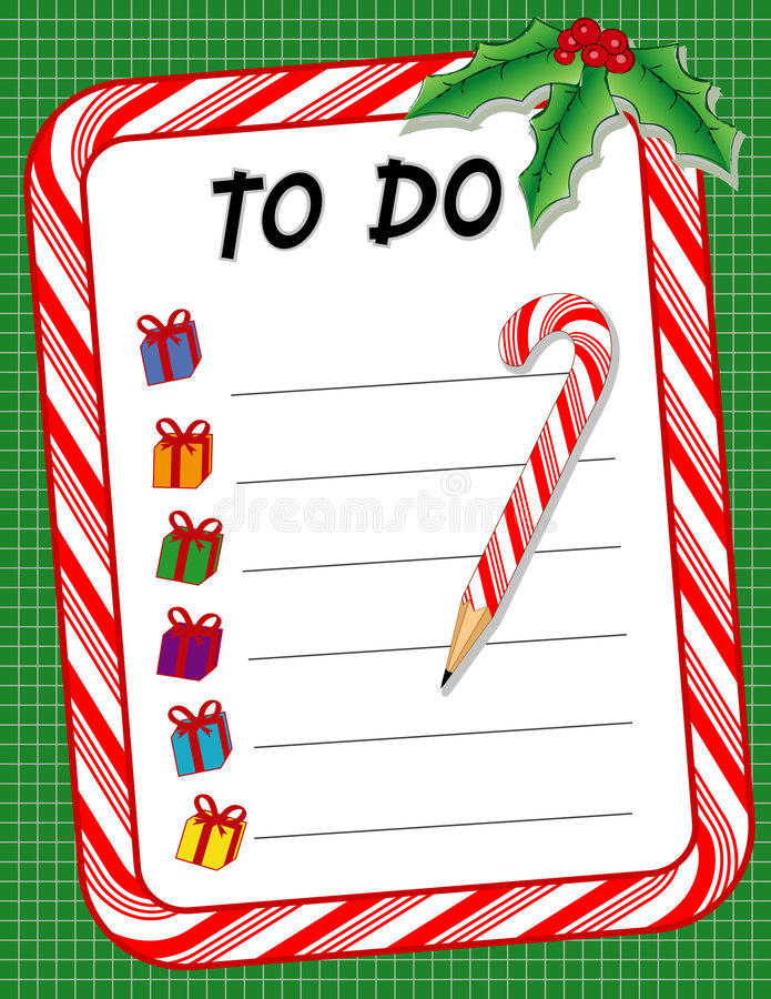 Christmas To Do Gift List & Candy Cane Pencil