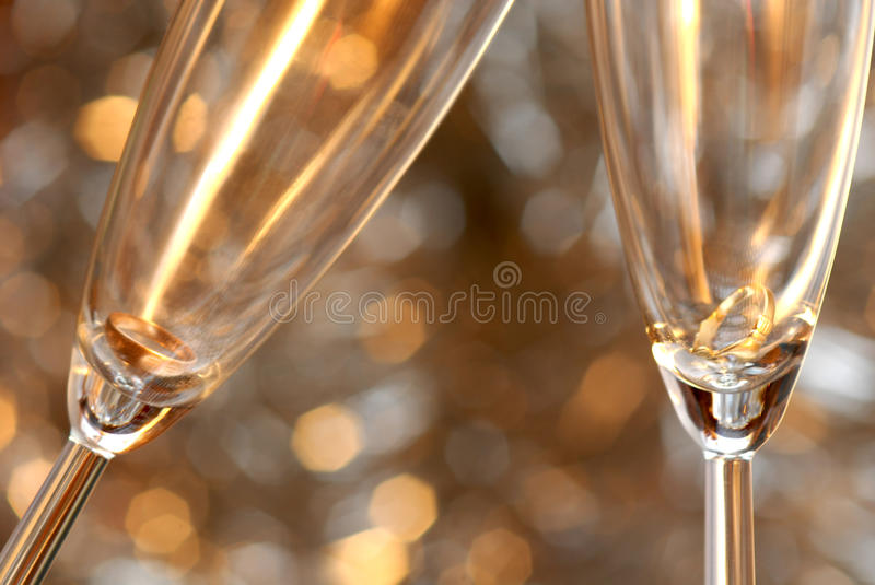 Christmas toast with champagne stock photo