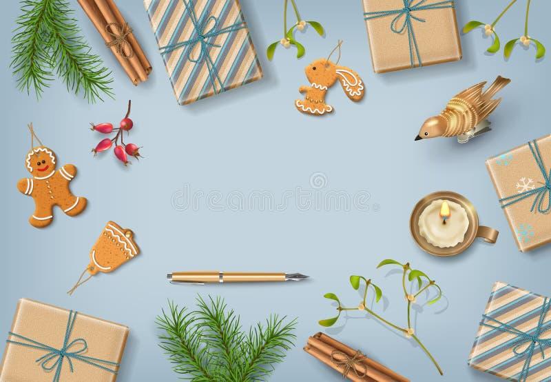 Download Christmas flat lay design stock illustration. Image of design - 104682551