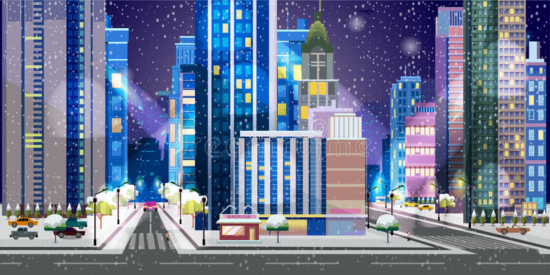 Christmas town illustration. Night City Background vector illustration