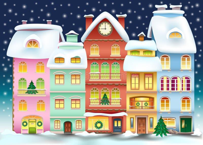 Christmas town illustration. Winter landscape royalty free illustration