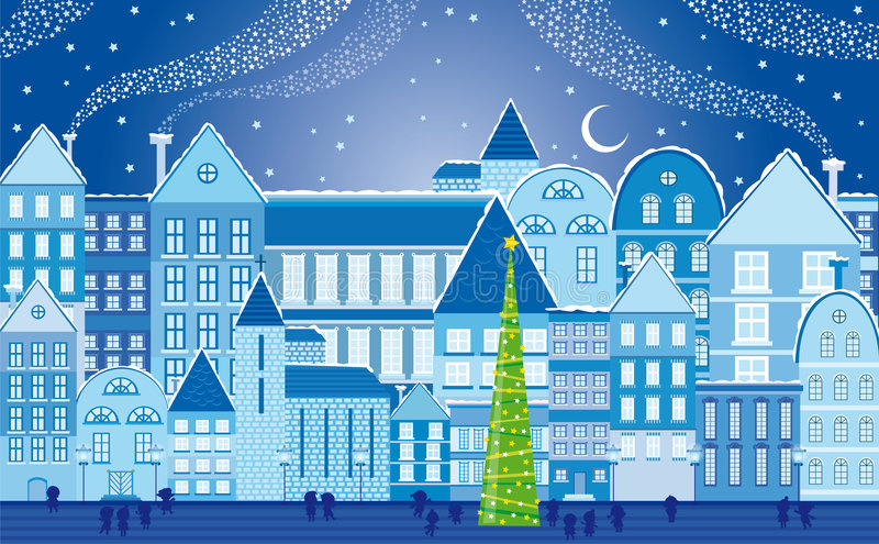 Christmas town at night stock illustration