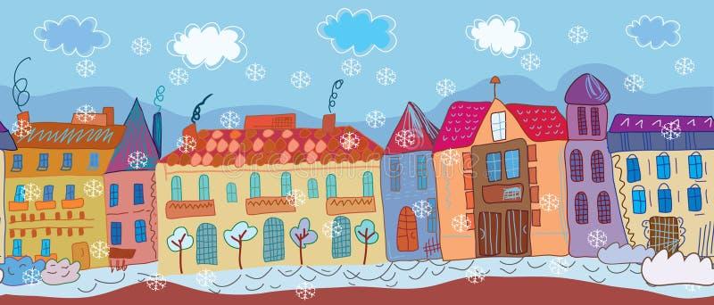 Christmas town seamless banner. Cartoon stock illustration