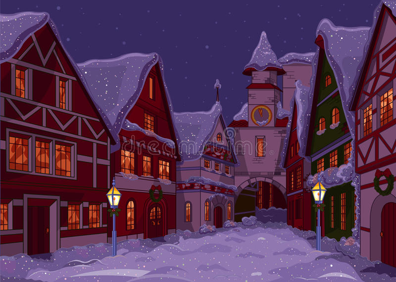 Christmas town vector illustration