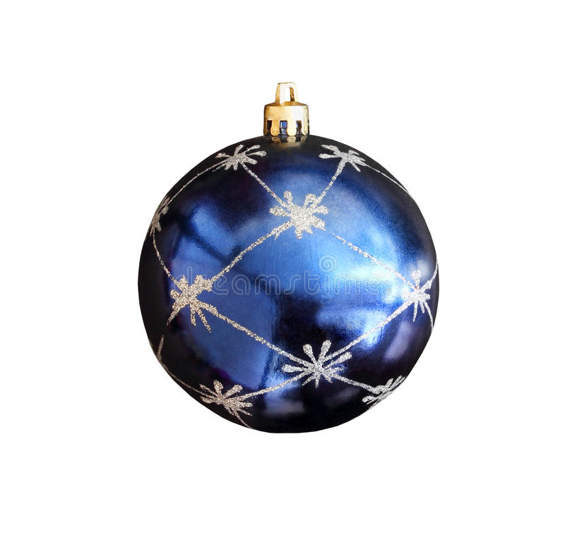 Christmas toy - a ball of blue isolated on white background stock photography