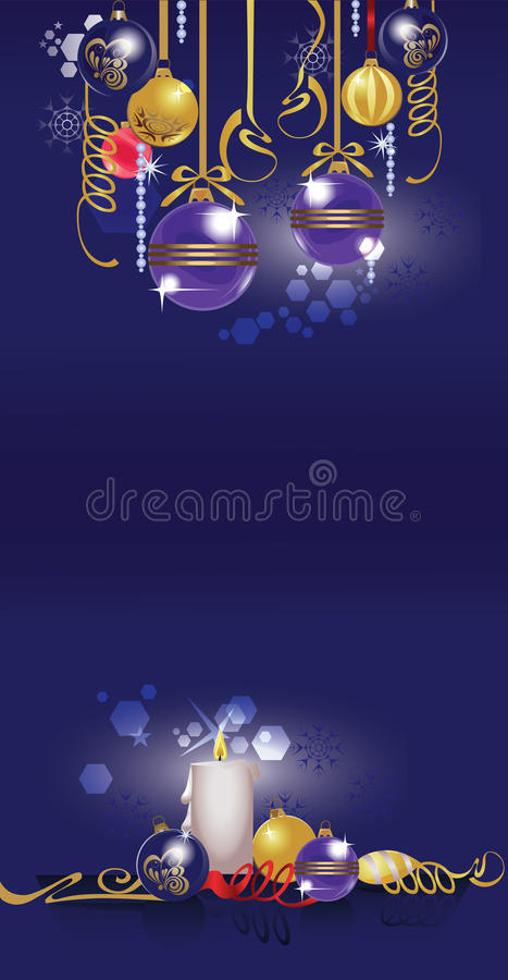 Christmas toy, christmas attributes, vertical card, glass balls, candle, ribbons. Vector illustration of christmas toy, christmas attributes, vertical card vector illustration