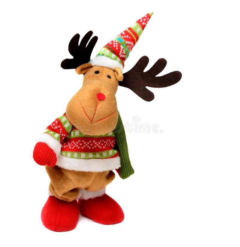 Christmas toy deer. Christmas toy funny deer isolated on white . Soft toy. Christmas elk stock photo