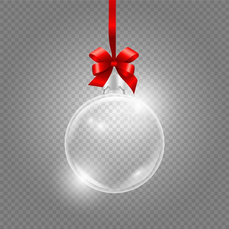 Christmas toy. Glass globe with red silk ribbon. Realistic vector glass ball isolated on transparent background royalty free illustration