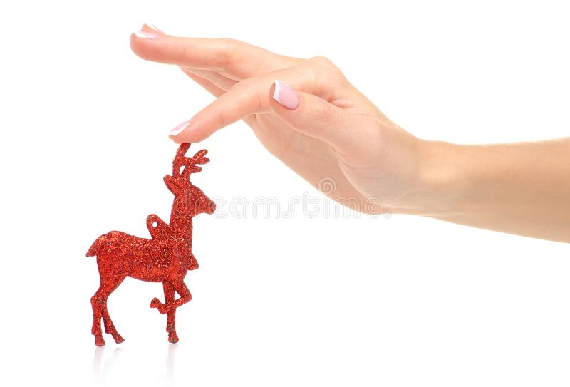 Christmas toy red deer in hand. On a white background. Isolation royalty free stock image