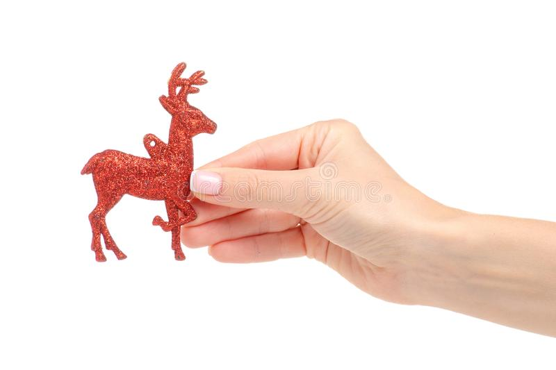 Christmas toy red deer in hand. On a white background. Isolation royalty free stock photography