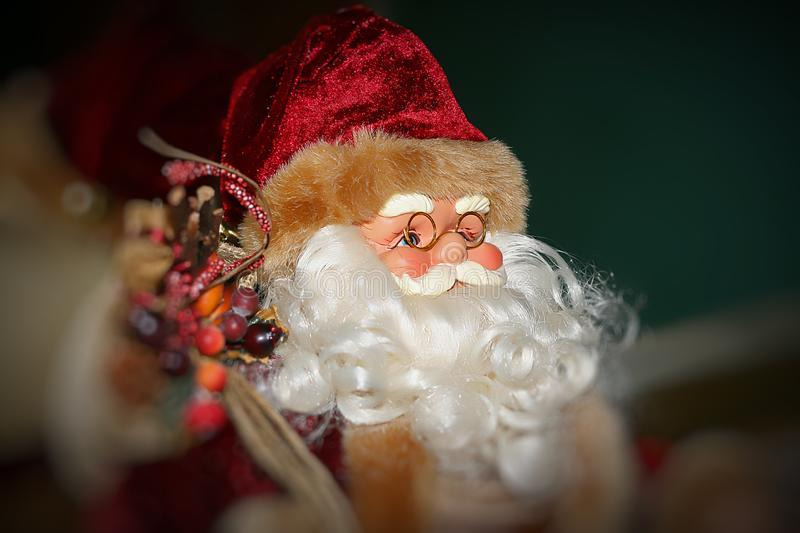 Toy of Santa Claus close-up. Christmas toy of Santa Claus close-up royalty free stock images