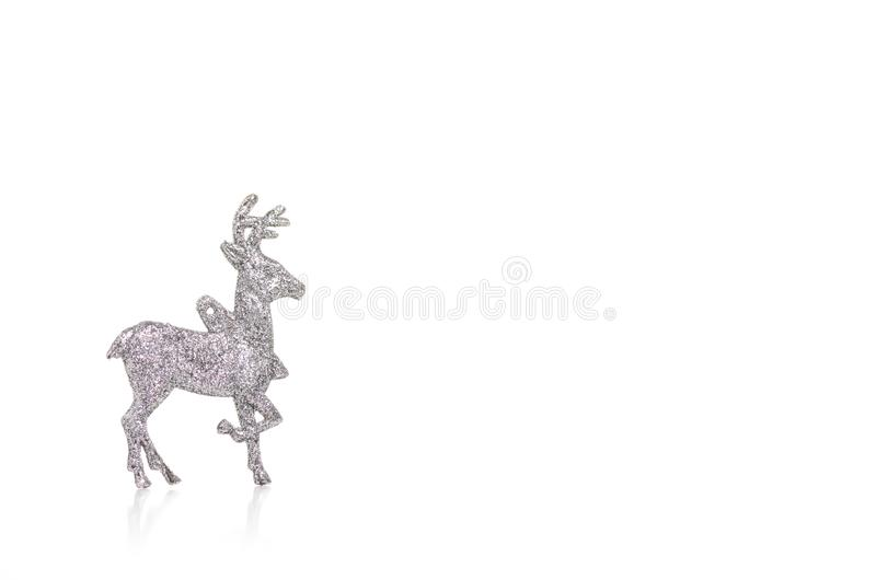 Christmas toy silver deer. On a white background. Isolation royalty free stock image