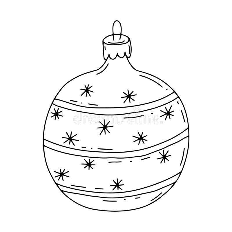 Christmas toy in the style of Doodle. Black and white vector illustration. Hand-drawn toy with snowflakes and lines vector illustration