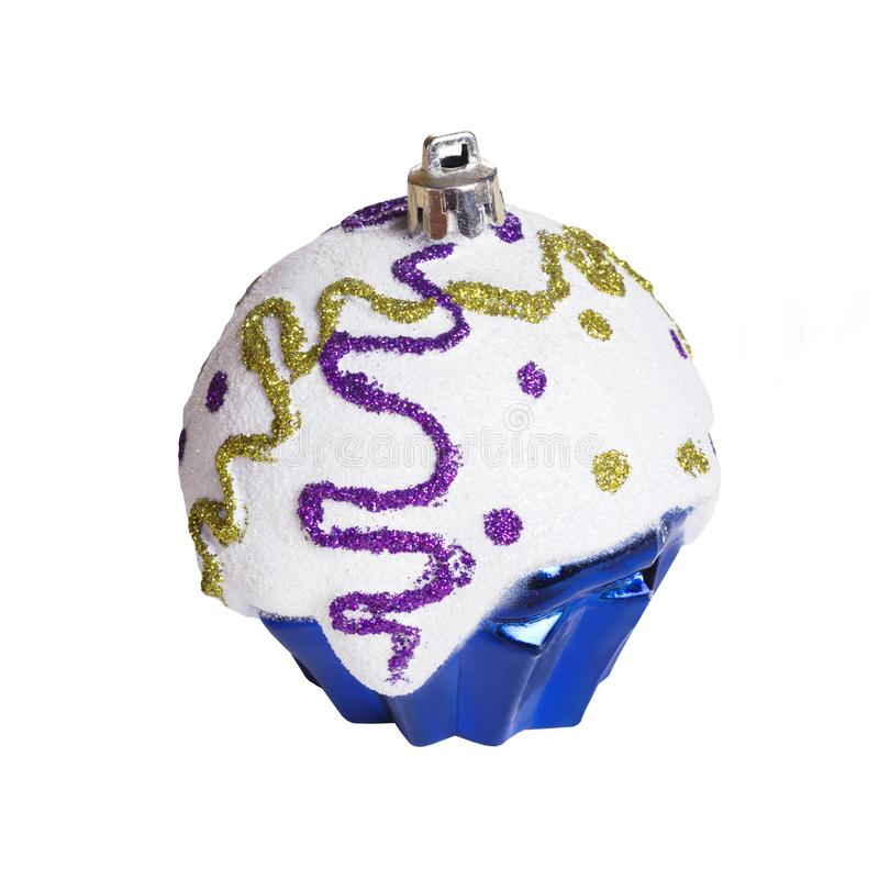 Christmas toy on white background isolated. Festive artificial blue cupcake royalty free stock photos