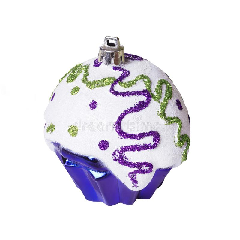 Christmas toy on white background isolated. Festive artificial Violet cupcake stock images