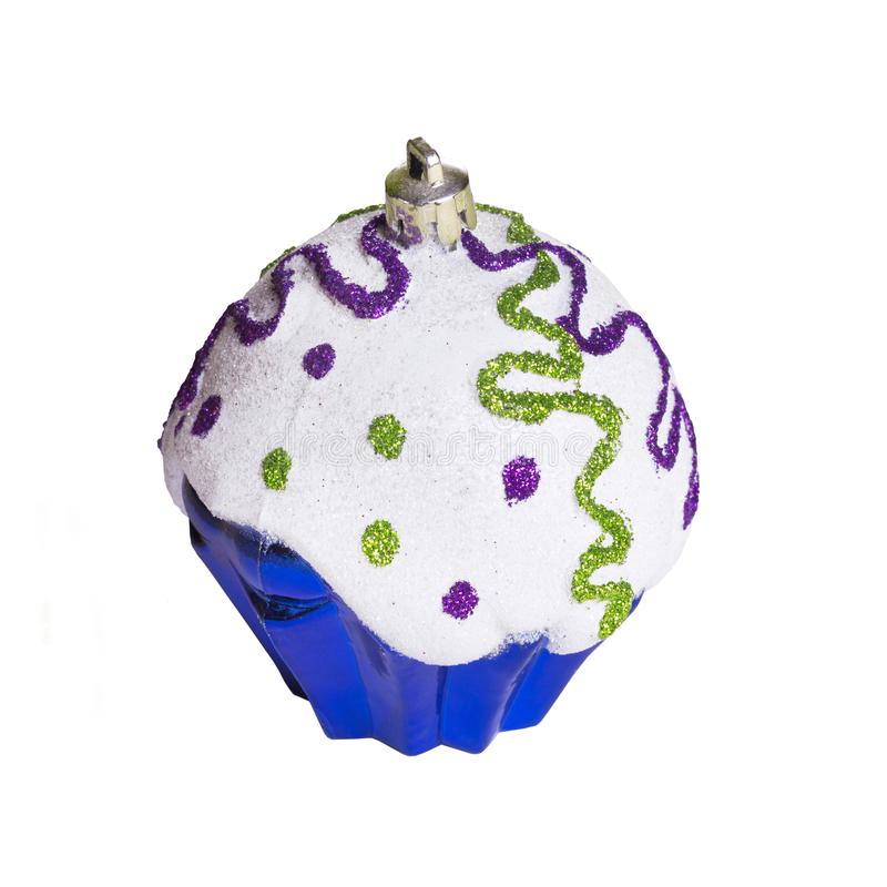Christmas toy on white background isolated. Festive artificial blue cupcake royalty free stock images