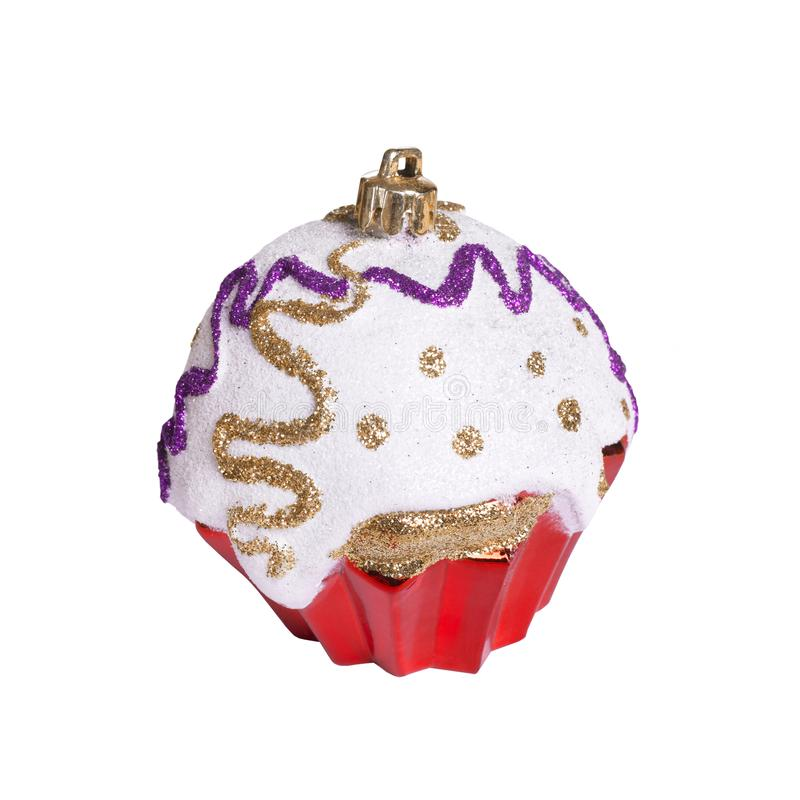 Christmas toy on white background isolated. Festive artificial red cupcake stock images