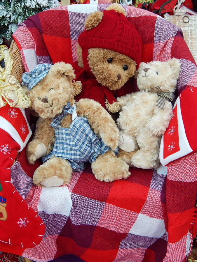 Christmas toys background. The shot was made at the International Specialized Trade Fairs GIFTS EXPO. AUTUMN 2014 stock photography