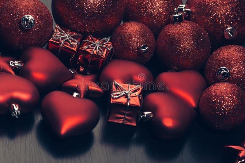 Christmas toys and balls flatlay royalty free stock image