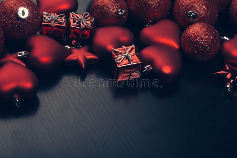 Christmas toys and balls flatlay stock photo