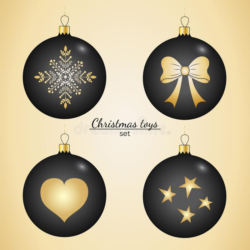 Christmas toys in black with a gold pattern royalty free illustration