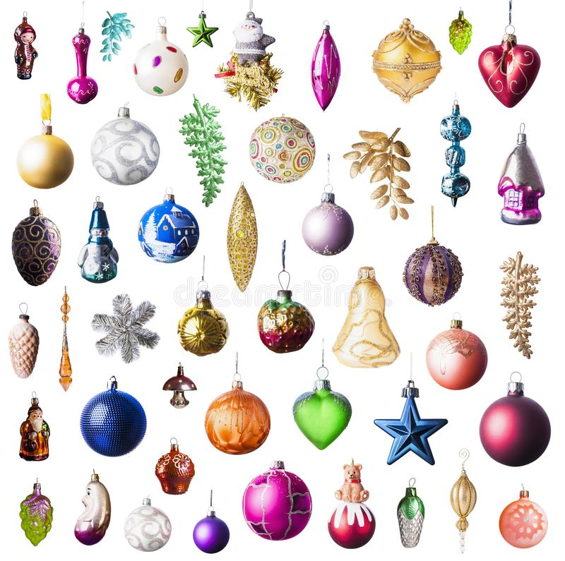 Christmas toys collection isolated on white background royalty free stock photography