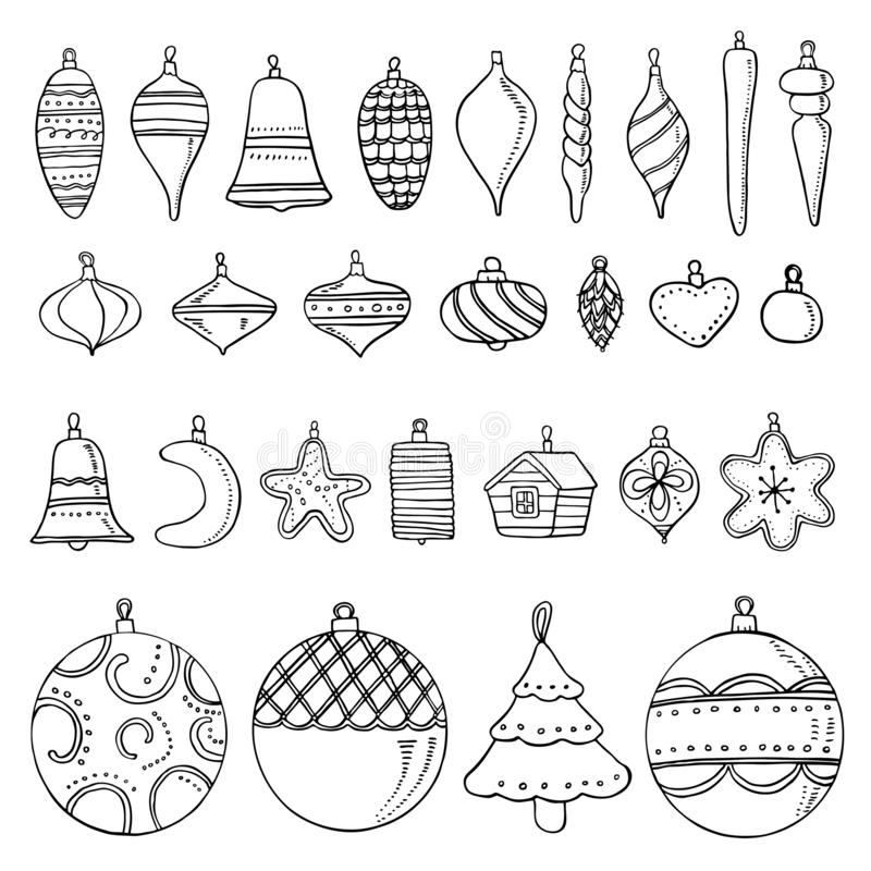 Christmas toys. Hand drawn outline vector illustration set of New Year decorations vector illustration