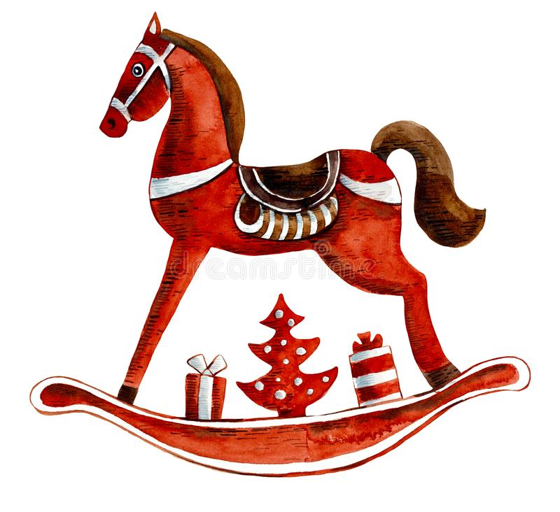 Free Christmas Toys - Horse. Watercolor Hand Drawing Illustration Royalty Free Stock Photos - 157016998