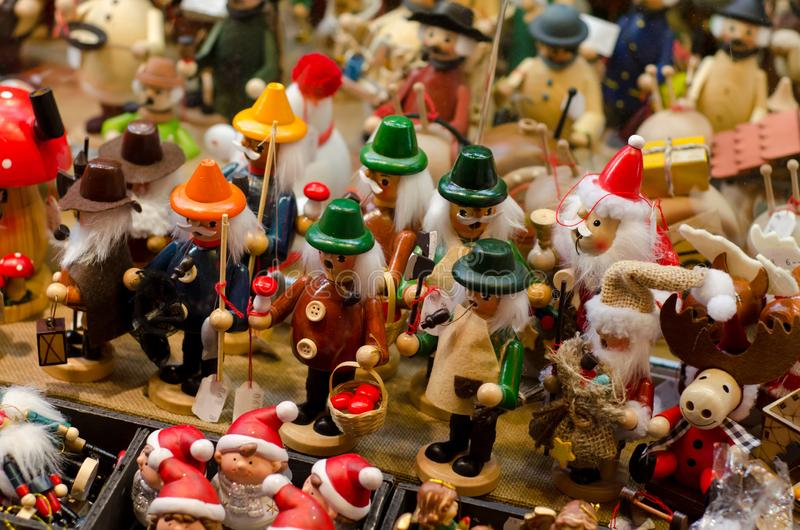 Christmas toys in market royalty free stock photography