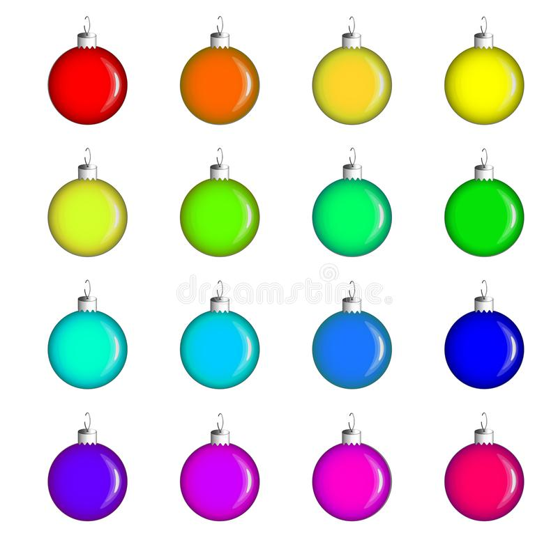 Christmas toys - a set of sixteen glass balls of different colors. Decorations for the Christmas tree. royalty free illustration