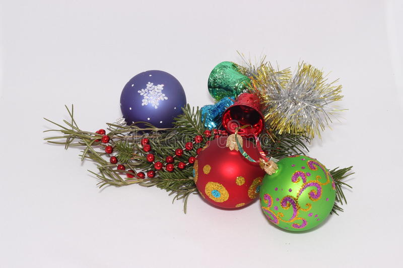 Christmas toys with a sprig of fir tree stock photo