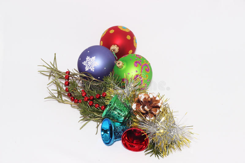 Christmas toys with a sprig of fir tree stock photography