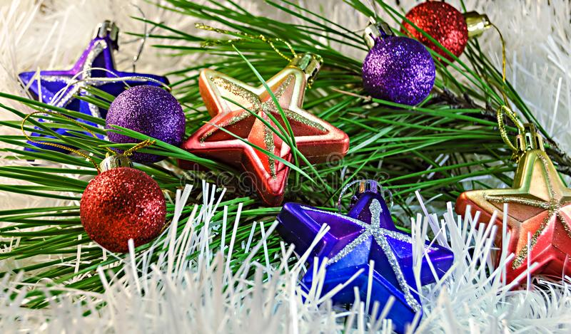 Christmas Toys stars and balls on white decoration with branch of pine tree zdjęcie stock