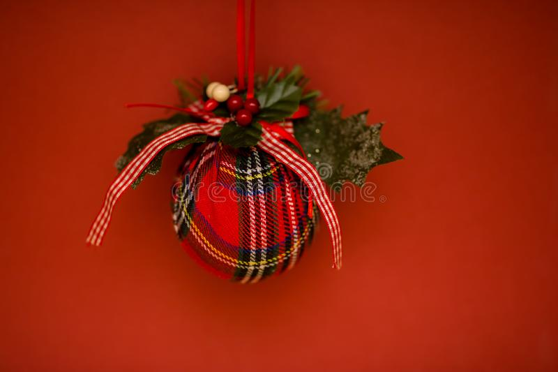 Christmas decorations for the Christmas tree on a colored background royalty free stock image