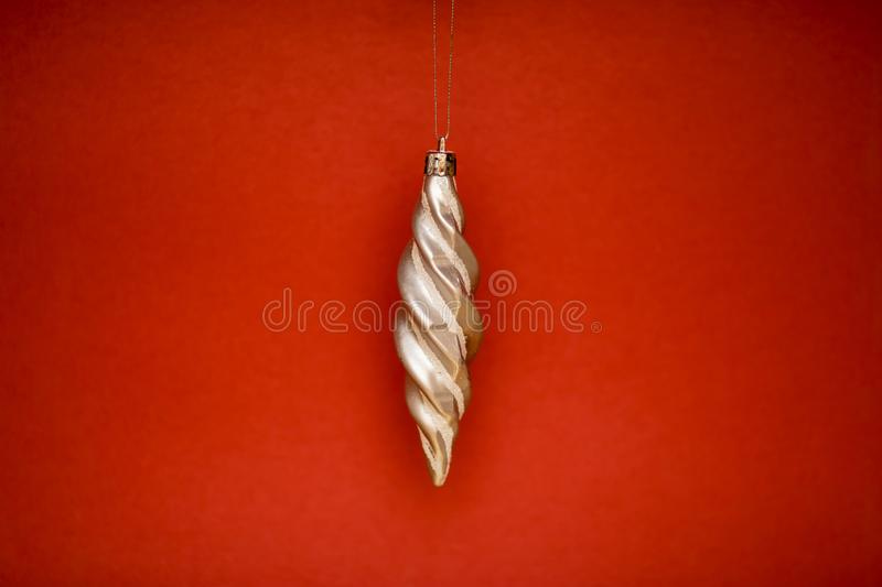 Christmas decorations for the Christmas tree on a colored background stock photo