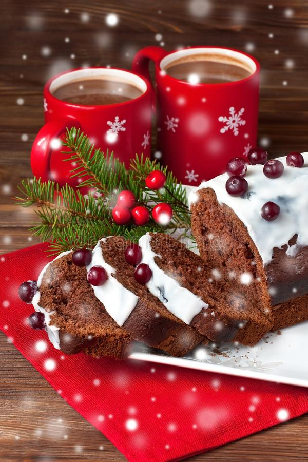 Christmas traditional cake with hot cocoa drink stock image