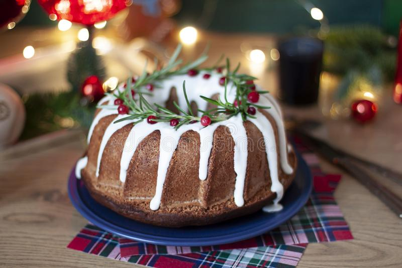 Christmas traditional pie close up. Festive food with winter holidays decoration. On the table stock images