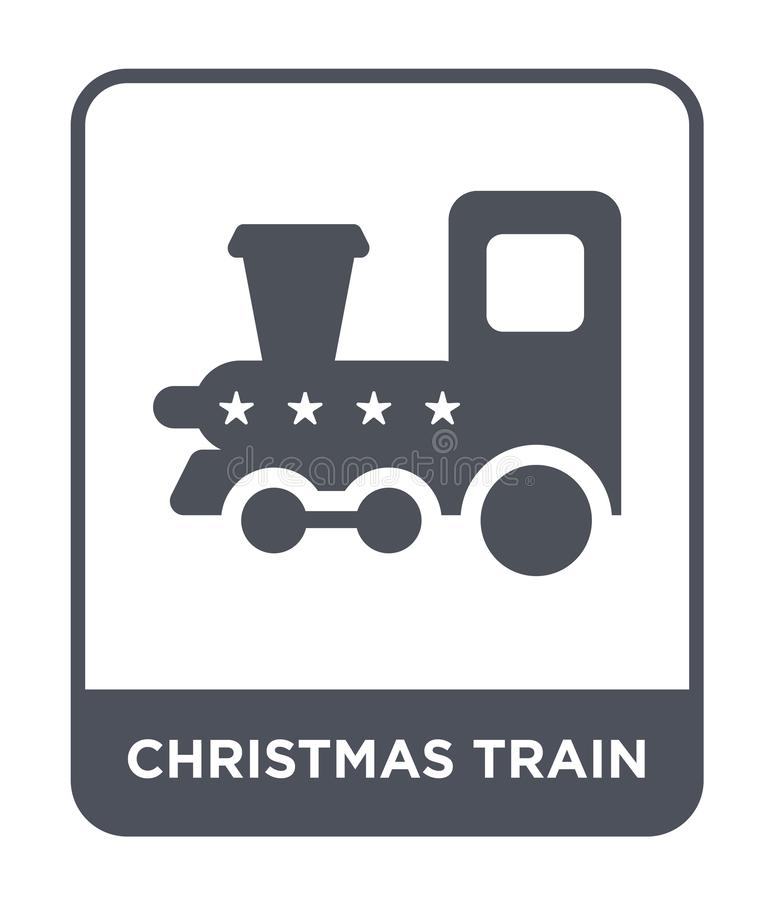Christmas train icon in trendy design style. christmas train icon isolated on white background. christmas train vector icon simple. And modern flat symbol for royalty free illustration