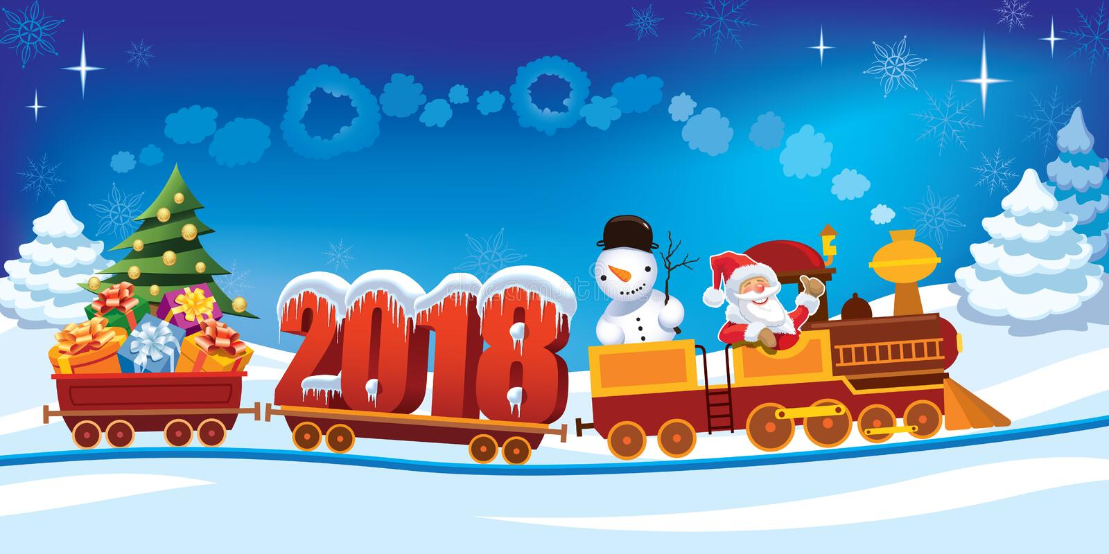 Christmas train 2018 royalty free illustration