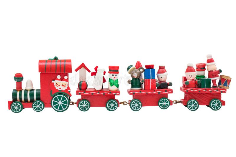 Christmas train toy model carry snowman and gifts. Christmas train toy model carry snowman and gifts isolated on white background stock photos