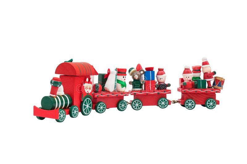 Christmas train toy model carry snowman and gifts. Christmas train toy model carry snowman and gifts isolated on white background royalty free stock photos