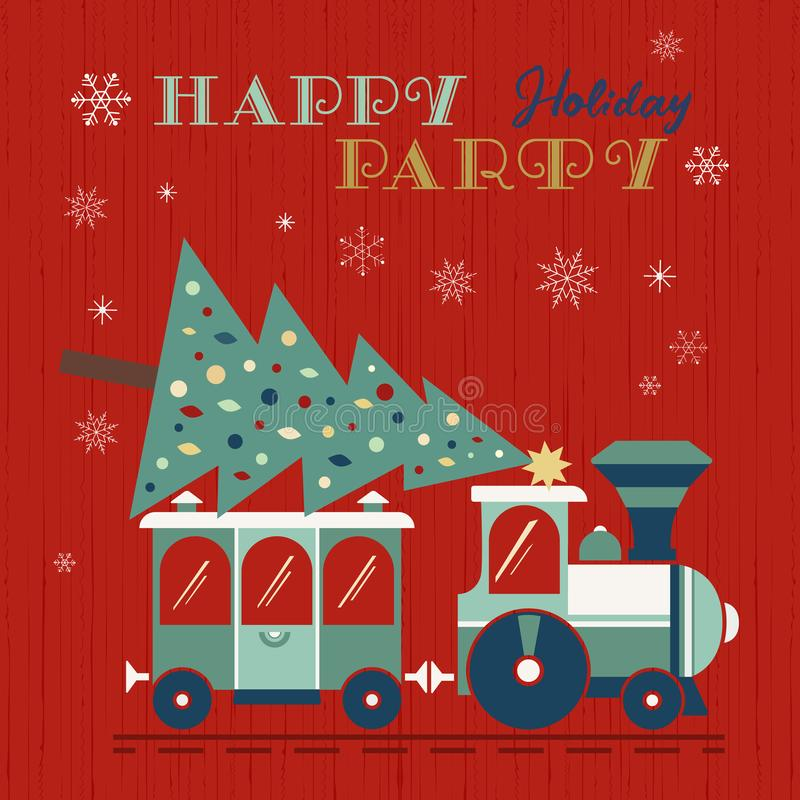 Christmas train with tree fancy holiday poster vector illustration