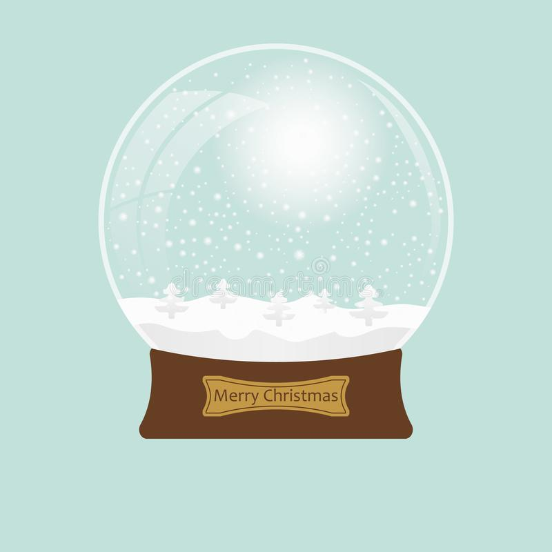 Christmas transparent snowglobe with tree. Eps 10. Vector illustration. stock illustration