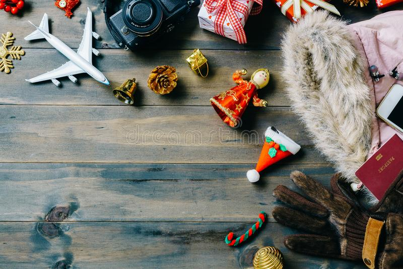 Christmas travel concept. Accessory women to travel Christmas an royalty free stock photos