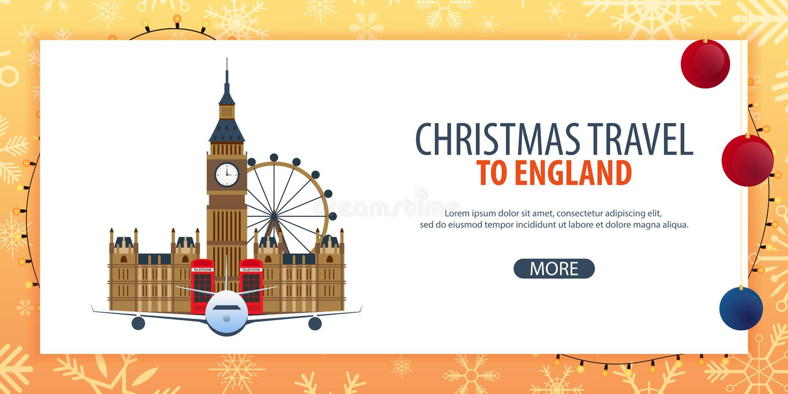 Christmas Travel to England, London. Winter travel. Vector illustration. stock illustration