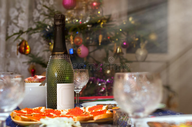 Christmas treats with champagne stock photos