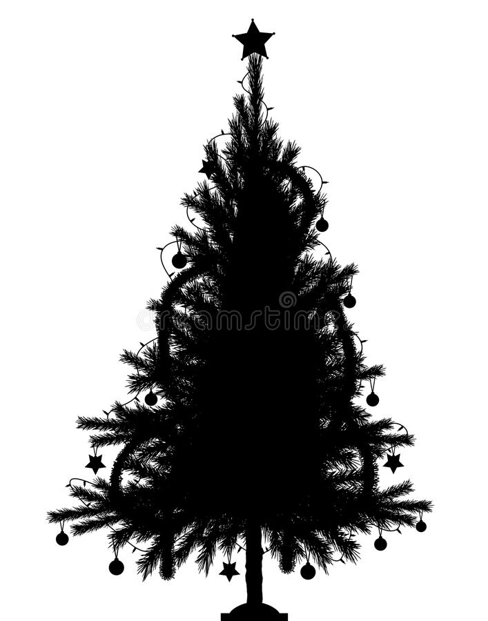 Christmas tree. Editable vector silhouette of a detailed Christmas tree with tree and decorations as separate objects